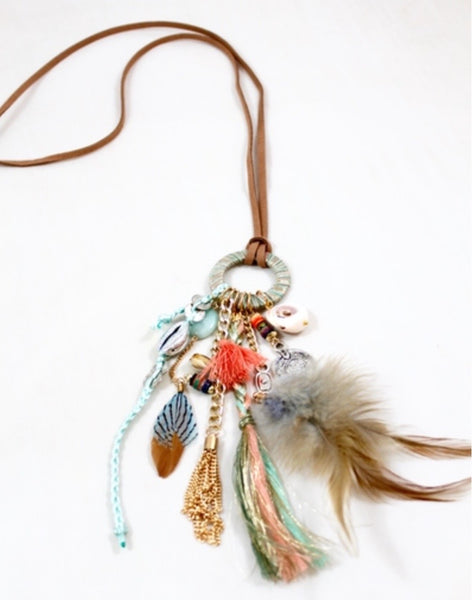 turquoise bohemian feather necklace