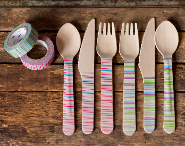 24 pieces eco wooden cutlery