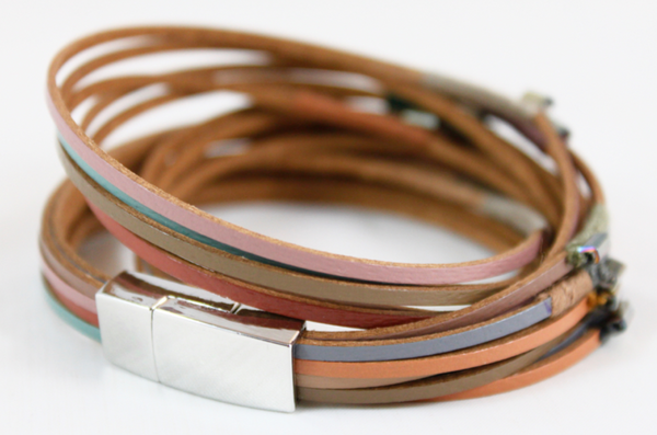 thread wrapped leather bracelet