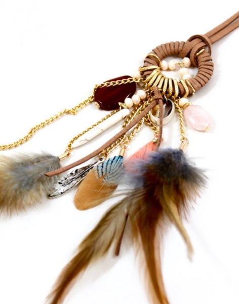 tan bohemian feather necklace