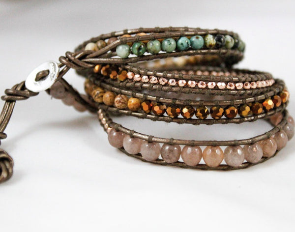 pink, natural, green, and gold beaded 5 wrap bracelet