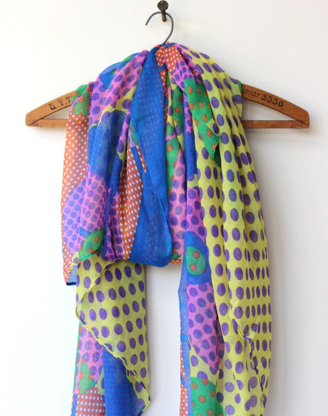 multicolored printed lightweight fashion scarf