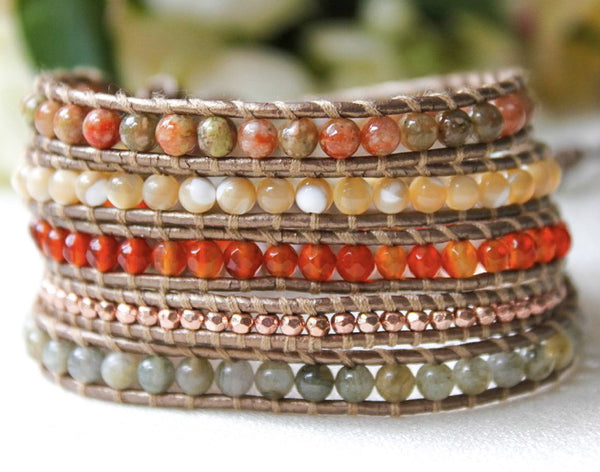 rust, natural, green, and gold beaded 5 wrap bracelet