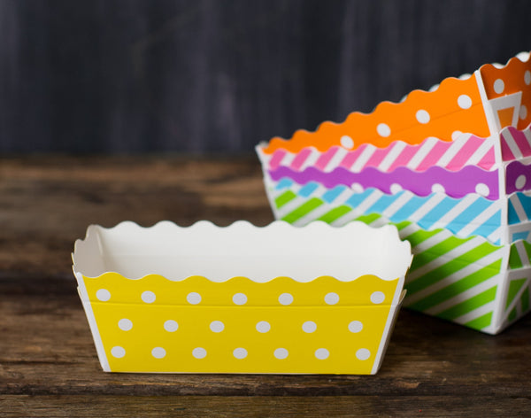 patterned paper disposable loaf baking pans - small