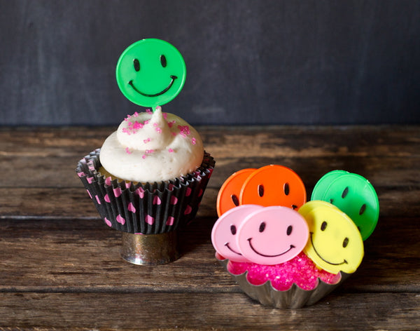 happy face cupcake toppers