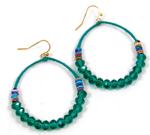 teal thread wrapped hoop earrings