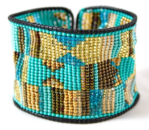 turquoise, gold, and tan aztec print beaded cuff bracelet