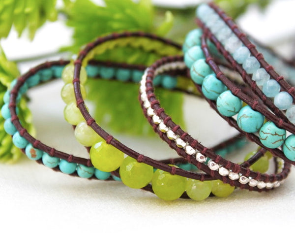 turquoise, lime green, and silver beaded 5 wrap bracelet