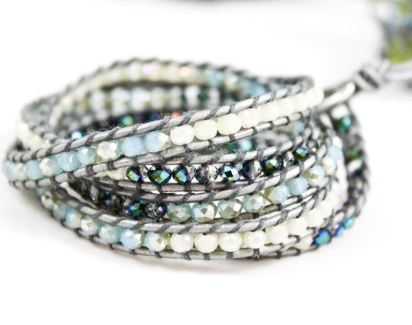 pale blue, turquoise, ivory, and gunmetal beaded 5 wrap bracelet