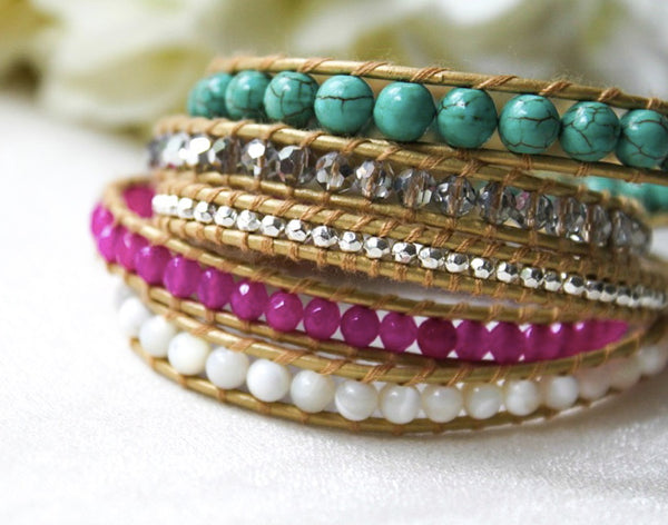 turquoise, pink, white, and silver beaded 5 wrap bracelet