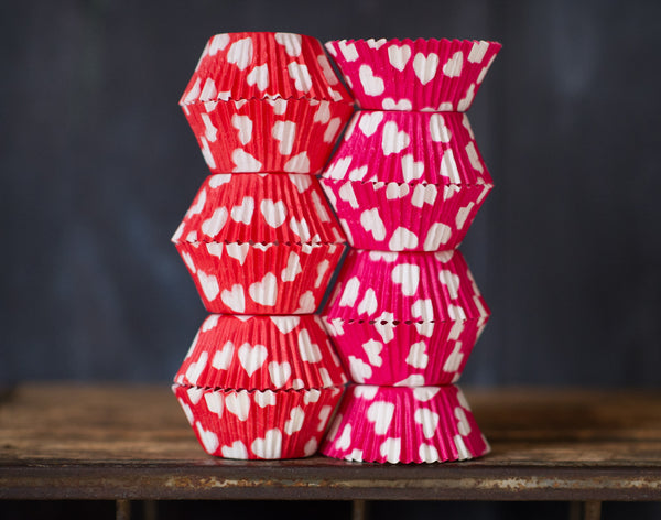 hot pink, red, and white heart printed paper cupcake liners for Valentines Day