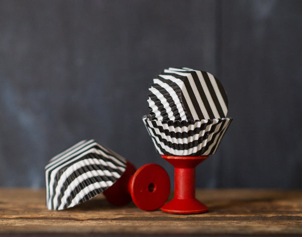 black and white striped paper cupcake liners for Halloween party supplies