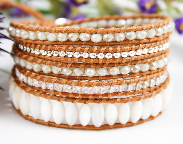 white, grey, and silver beaded 5 wrap bracelet