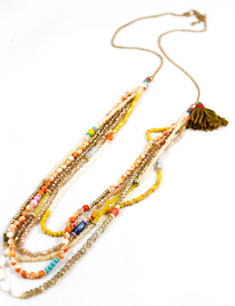 yellow multi-colored beaded necklace