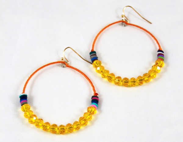 yellow thread wrapped hoop earrings