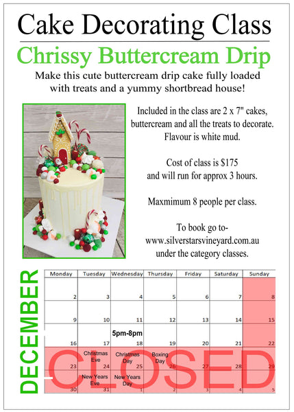 Christmas Buttercream Drip Class Wednesday 18th December 5pm-8pm