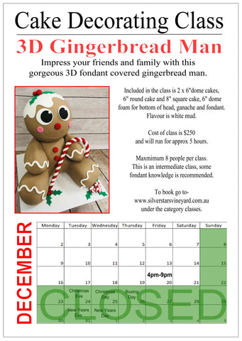 3d Gingerbread Man Class Friday 20th December 4pm-9pm