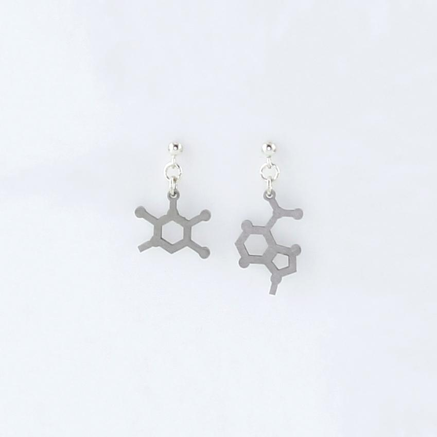 Adenine and Thymine Molecule Studs in Stainless Steel