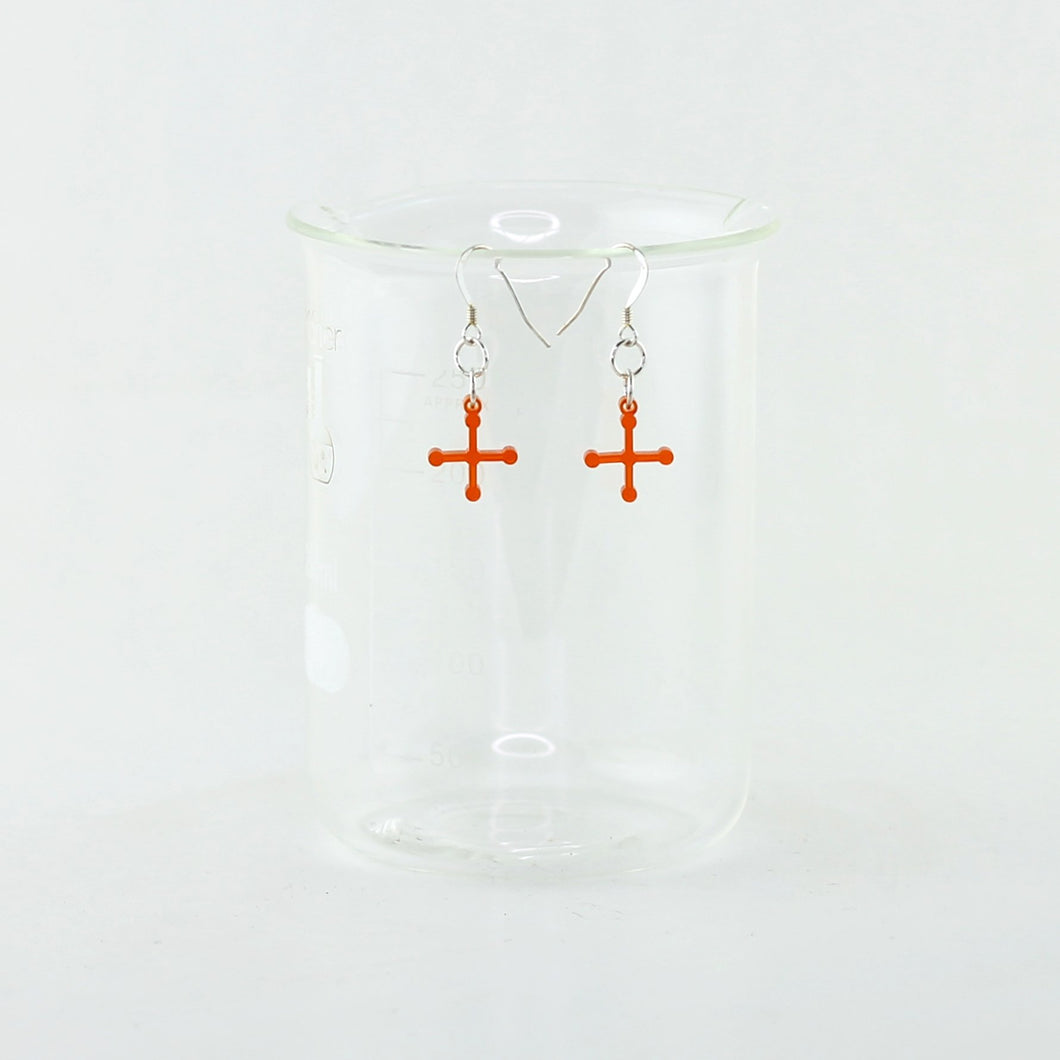 Ammonium Perchlorate Molecule Rocket Fuel Earrings in Transparent Orange Acrylic