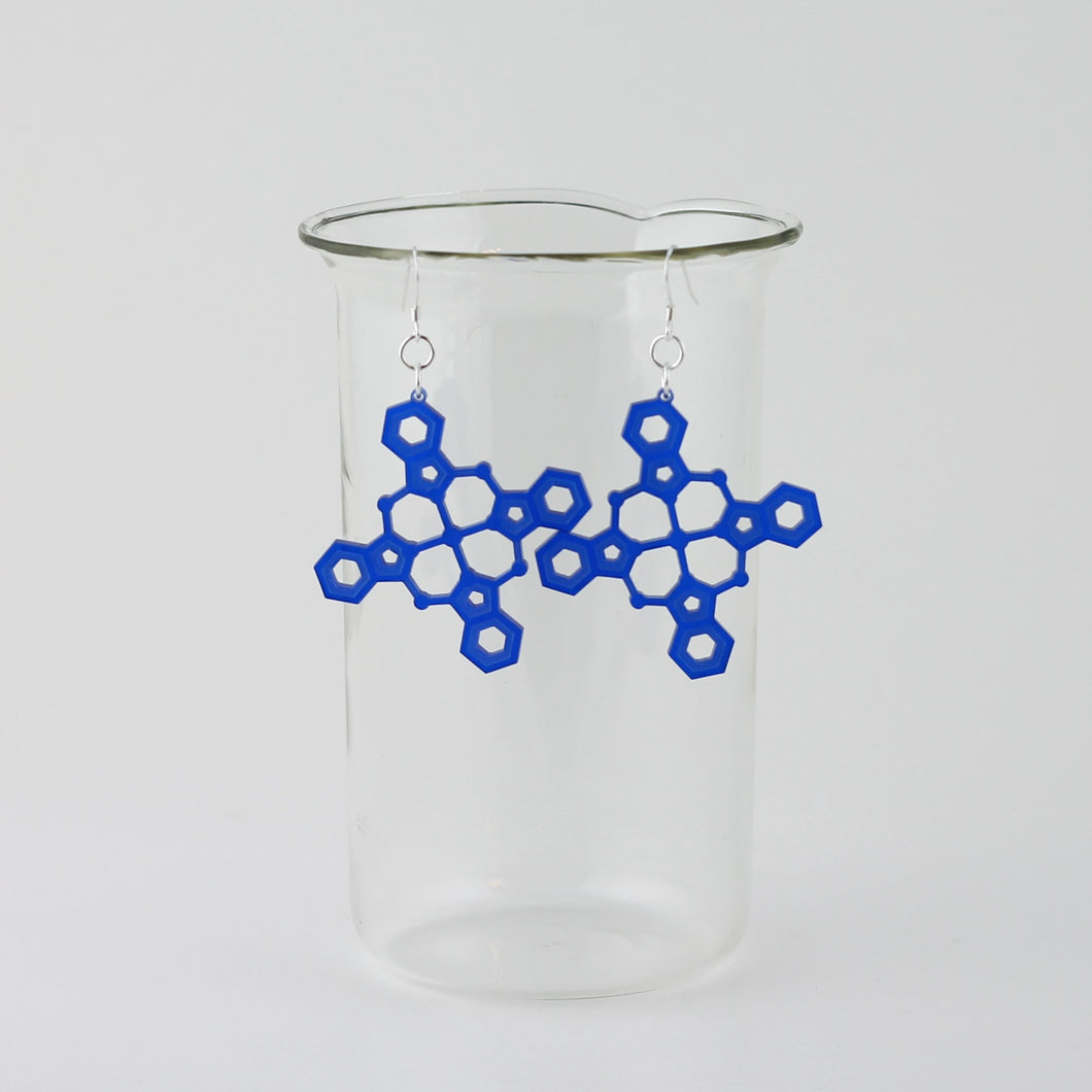 Blue Pigment Molecule Earrings in Transparent Blue Acrylic