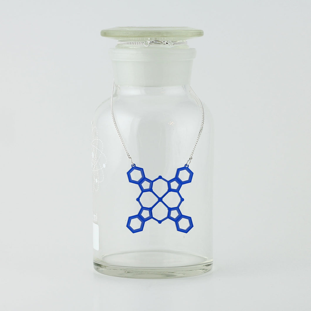 Blue Pigment Molecule Necklace in Transparent Blue Acrylic