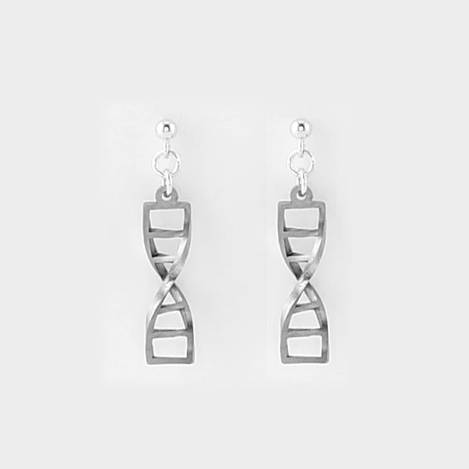 DNA Double Helix Studs in Stainless Steel