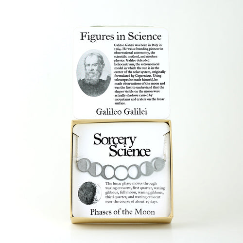 Figures in Science: Galileo Galilei with Phases of the Moon Necklace in Stainless Steel