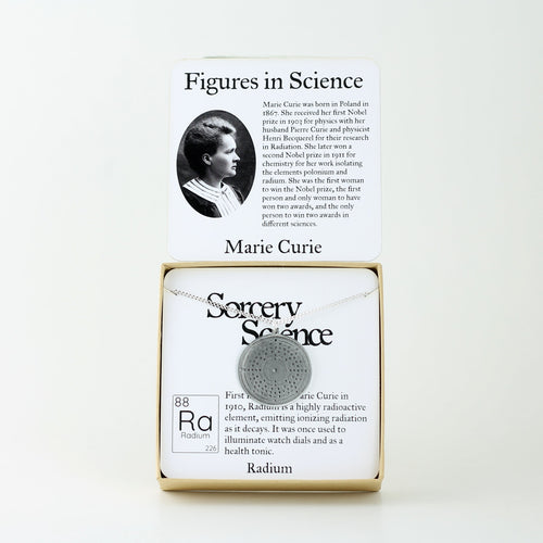 Figures in Science: Marie Curie with Radium Bohr Model Atom Necklace in Stainless Steel