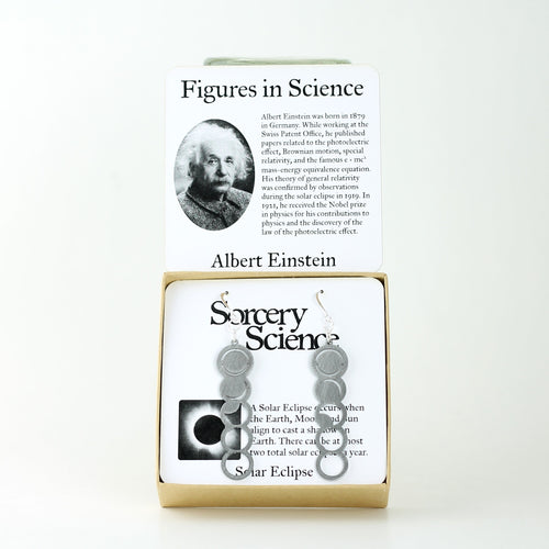 Figures in Science: Albert Einstein with Solar Eclipse Earrings in Stainless Steel