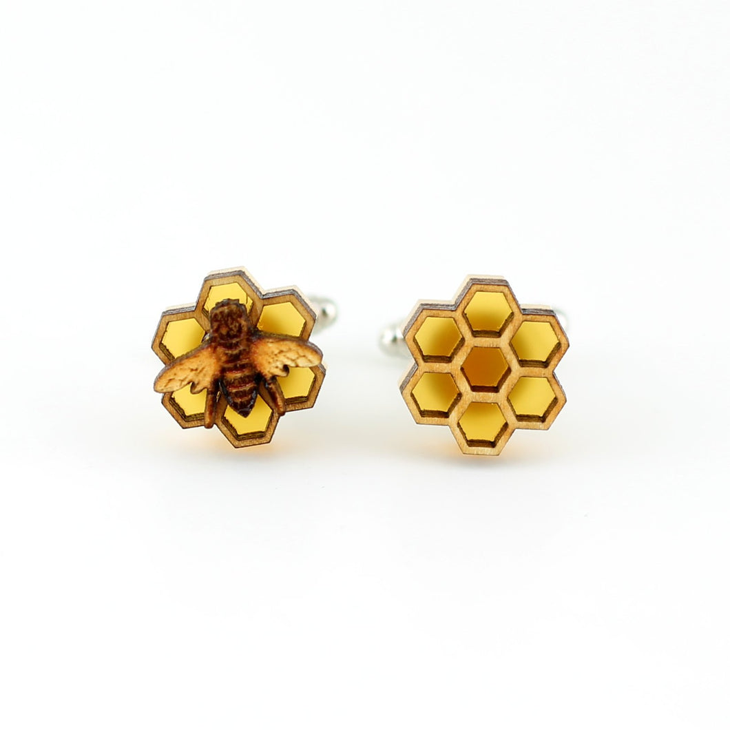 Honeycomb and Bee Cufflinks