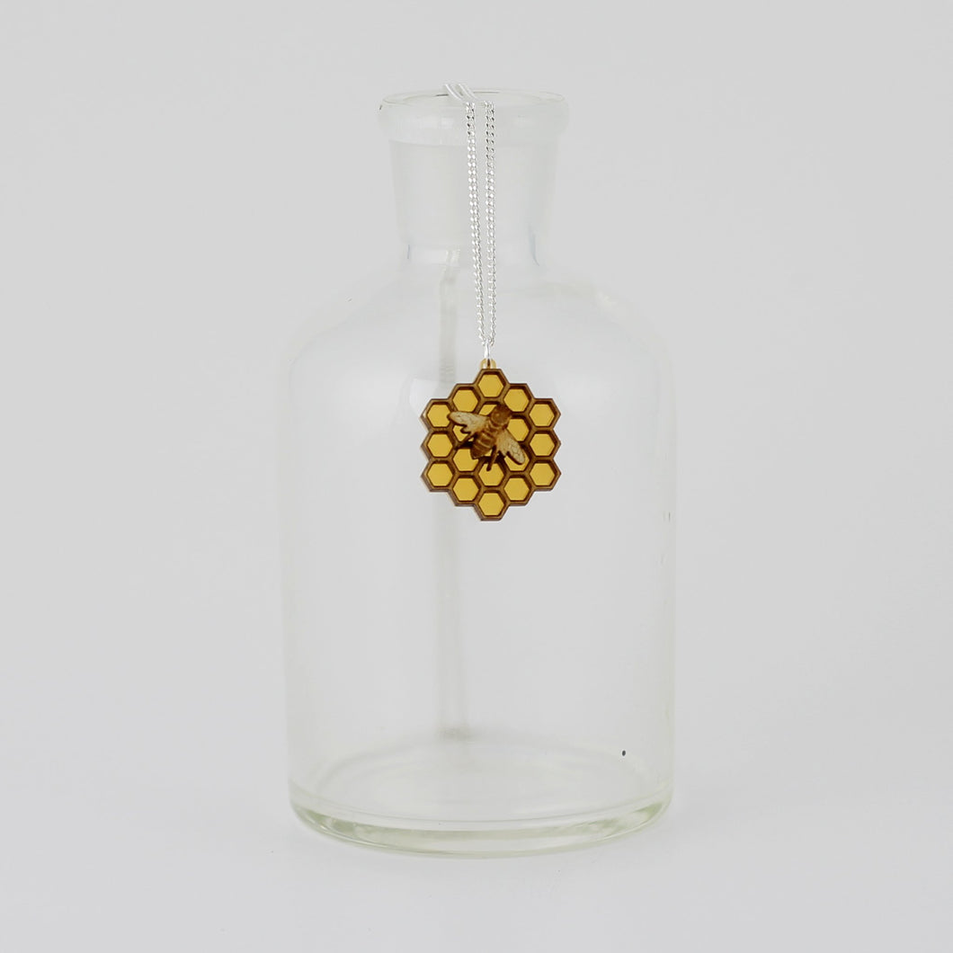 Medium Honeycomb with Bee Necklace in Wood and Acrylic
