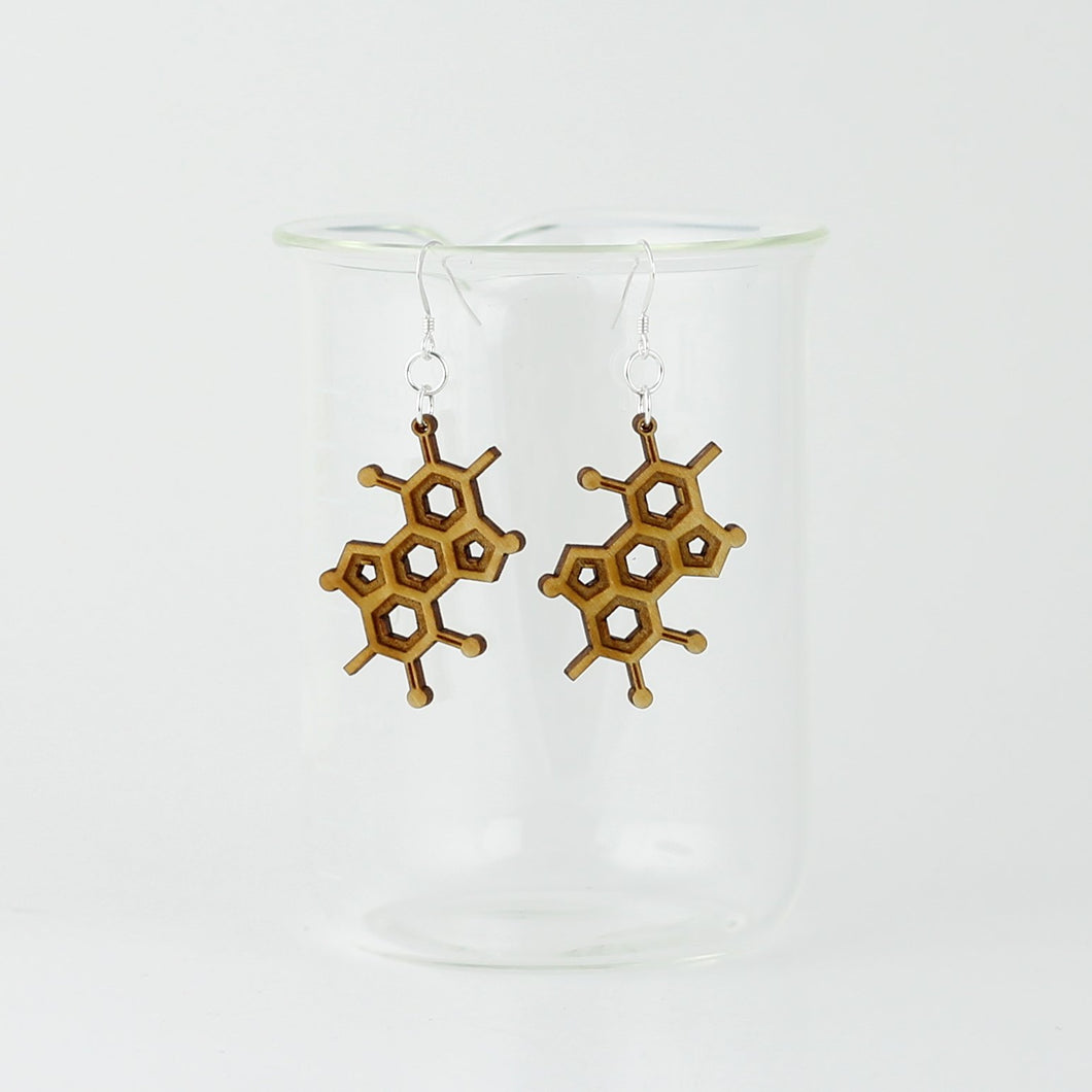 Melanin Molecule Earrings in Birch Plywood