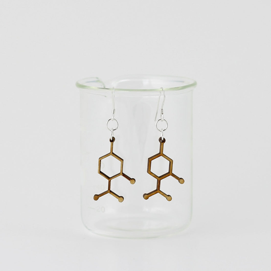 Aromatic Scented Peppermint Molecule Earrings in Birch Plywood