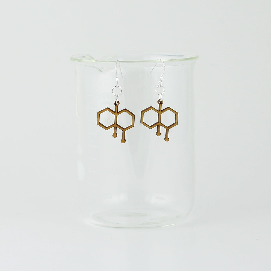 Petrichor Molecule Earrings in Birch Wood