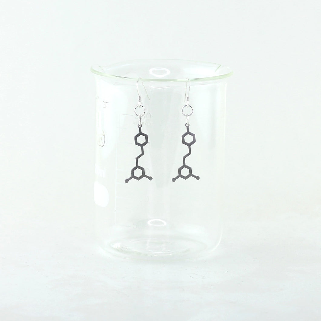 Resveratrol Molecule Earrings in Stainless Steel