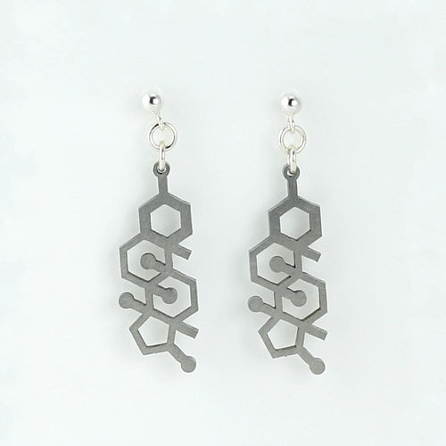Testosterone Molecule Studs in Stainless Steel