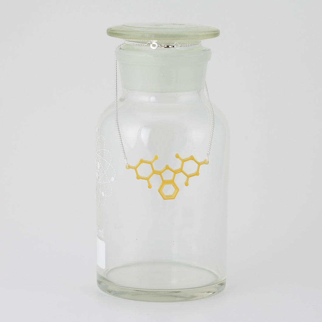 Yellow Pigment Molecule Necklace in Transparent Yellow Acrylic