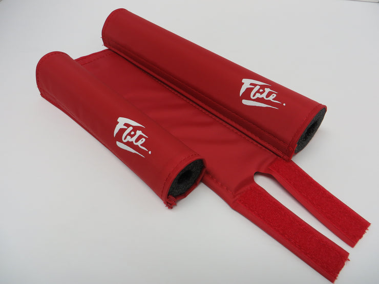 Red with white solid color bmx bicycle pad set