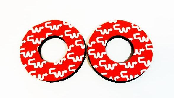 CW Racing Orange White BMX Grip Donuts