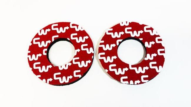 Red white CW Racing Grip Donuts