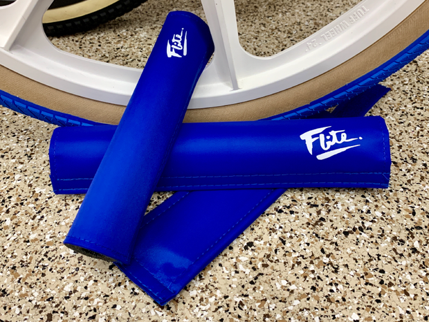Flite 80's logo royal blue white padset bmx