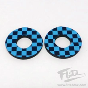 Flite Checkers Electric Blue and Navy - BMX MX Grip Donuts