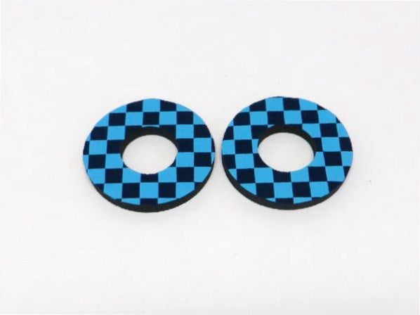 Electric Blue and Navy Flite Checkers BMX MX Grip Donuts