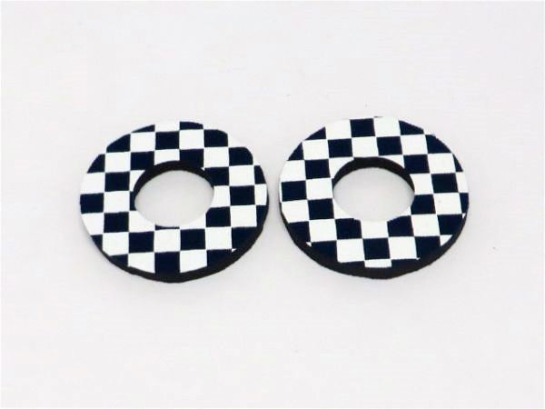 Navy blue and white checker donut