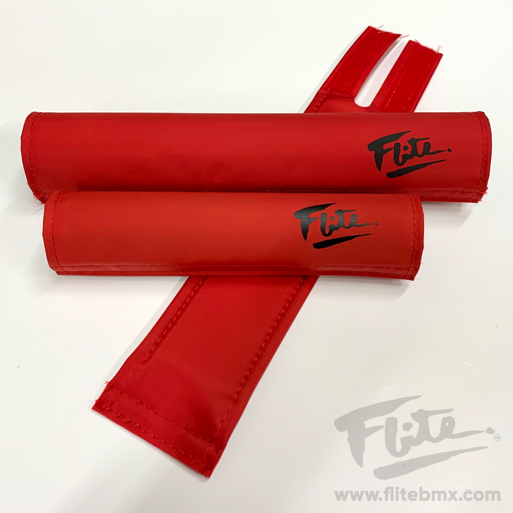 80's Logo Red with Black Flite BMX Pad Set