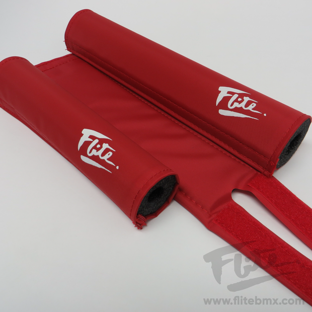80's Logo Red with White Flite BMX Pad Set
