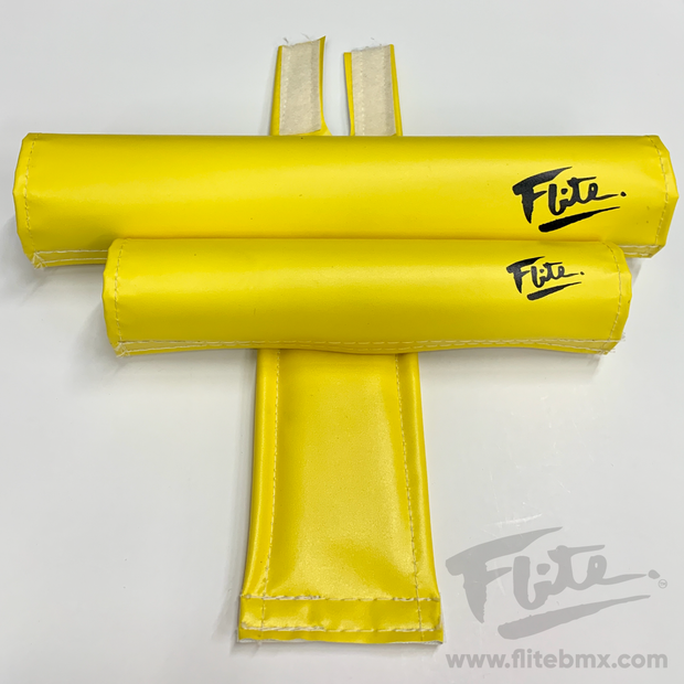 80's Logo Yellow Flite BMX Pad Set