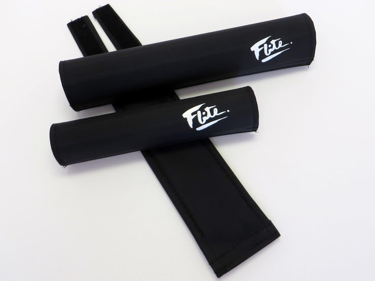 Solid Color Black with White Flite Logo, Old School BMX 3 Piece Pad Set