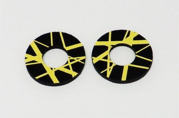 Eddie Van Halen Inspired BMX Grip Donuts Black with yellow stripes