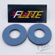 Flite Checkers Steel Blue and White - BMX MX Grip Donuts